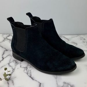 TOMS Ella Chelsea Boot Black Suede Pull-on Booties